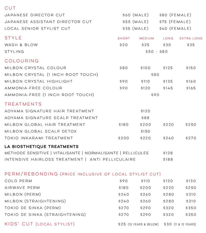 Price List - AOYAMA HAIR STUDIO JAPANESE SALON SINGAPORE